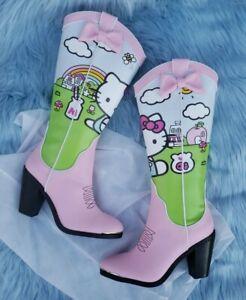 Dolls Kill x Hello Kitty & Friends Cowboy Boots Size 7 Pink & Pretty