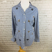 NWT Crown & Ivy Striped Button Down Top Beaded Bees Blue White Women's Size PP 4