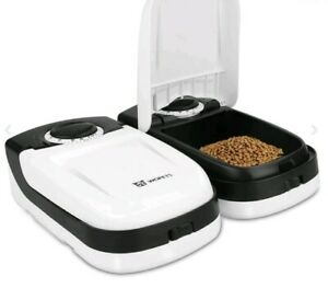 Wopet black and white automatic pet feeder 2-meal for cat or dog