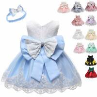 Baby Infant Girl Bow Tulle Tutu Party Princess Baptism Christening Xmas Dress