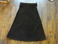 Genuine Vintage Ladies Brown A Line Corduroy Skirt Size  8