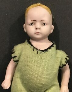 Antique German Character Face Jointed Bisque Boy Doll 5 inches