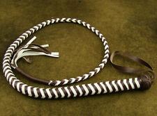 HEAVY DUTY BULL WHIP HUNTER BROWN AND WHITE PU LEATHER 4 FOOT LONG BRAND NEW(209