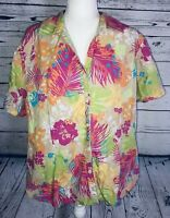 Sag Harbor Women's 2X Blouse Short Sleeves Button Down V Neck Collared Floral