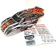 Traxxas Rustler Truck Body Wing Orange Black Grey White Painted Decals XL5 VXL