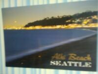 BEAUTIFUL  PHOTO POST CARD @ DUSK ALKI BEACH SEATTLE WASHINGTON