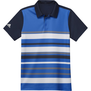 New Adidas Golf Boys Stripe Collegiate Navy/Glory Blue Polo Medium FT8296