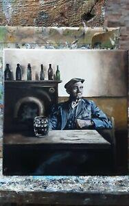 ORIGINAL oil painting , Walking the dog.... free postage