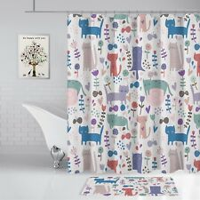 "Shower Curtain Cat Flowers Bathroom Decor Set 70"" x 72"" Waterproof 12 Hooks"