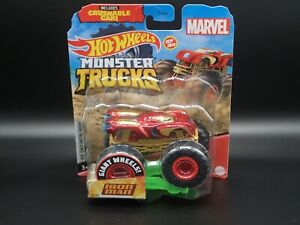2020 MATTEL HOT WHEELS MONSTER TRUCKS IRON MAN MARVEL W/ CRUSHABLE CAR  CASE M