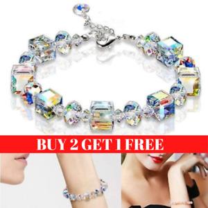 New Linked Charm Gemstone Bead Bracelet Crystal Womens Ladies Jewellery Gift UK