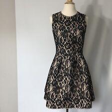Womens H & M Neoprene Style Nude Base Black Lace Overlay Dress Size 10