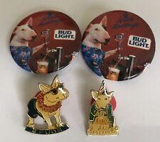 4 Spuds Mackengie Dog Bud Light Pins Budweiser Beer 80's advertising