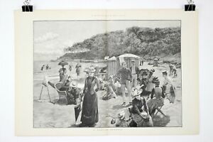 1890 A SEASIDE RETREAT by A. Forestier Double-Page Woodblock Print