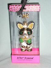 Betsey Johnson 2011 French Bulldog Blown Glass Christmas Ornament New In Box