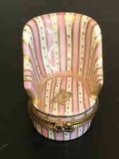Limoges France Peint Main Handpainted Pink Armchair Chair With Book Trinket Box