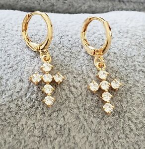 Bright Yellow Gold Plated Multi Crystal Cross pattern Design Dangle Earrings
