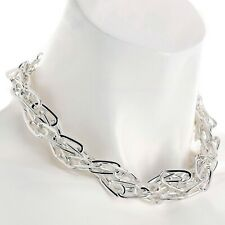 Fashion jewellery silver colour two row twisted design chain choker necklace