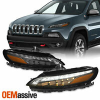 Fit 2014-2018 Jeep Cherokee LED DRL Assemblies w/ Turning Lights - Black Housing