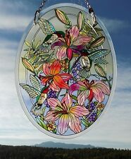 "AMIA Glass ""Hummingbirds & Daylilies""  Oval Suncatcher -  Hand Painted  ~  NEW"