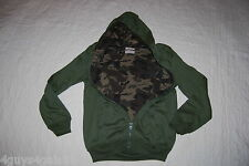 Mens Hooded Sweat Jacket DARK GREEN Camo Waffle Lining ZIP UP HOODIE M 38-40