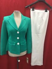 """EVAN PICONE PANT SUIT/GREEN/WHITE/SIZE 4/INSEAM32""""/LINED/NEW WITH TAG/RETAIL$200"""