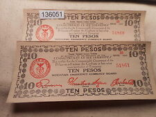 Philippines Emergency Currency Mindanao Ten Pesos 2 Sequential Notes - # 136051