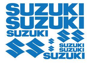 SET of SUZUKI STICKERS, DECALS for BIKE, OUTBOARD, QUAD. 18 COLOURS, BEST VINYL.
