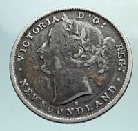 1876 CANADA NEWFOUNDLAND UK Queen VICTORIA Genuine Silver 20 Cents Coin i81080