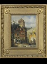 Pair Of Oil Paintings L Clayton Gilt Frame Edwardian Street Scenes