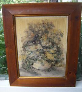 Mary Bertrand Original Signed Framed Vintage Floral Painting - Louisiana Artist