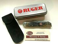 Case XX Single Blade Ruger Cheetah Pocket Knife 6111 1/2 L SS w/ Pouch in Tin
