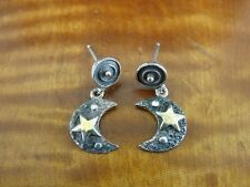 Crescent Moon Star Gold Vermeil Accents Sterling Silver Dangle Pierced Earrings