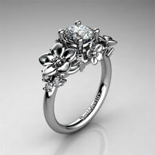 Vintage Flower Fashion Woman Charm 925 Silver Wedding Band Ring Party Size 6-10