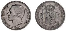 1 Silver Peseta/Silver Alfonso XII Madrid 1881. VF