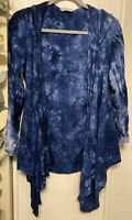 Tryst Blue Tie Dyed Hooded Open Cardigan Top Womans Sz Medium M USA Made