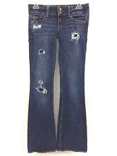 American Eagle Womens Jeans Artist Stretch Destroyed Flare Leg Blue Denim Size 0
