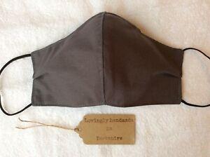 Ladies face mask three layer reusable, filter nose piece grey cotton handmade UK