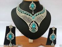 INDIAN COSTUME JEWELLERY SET TURQUOISE CLEAR STONES SILVER PLATED NEW AQ/198