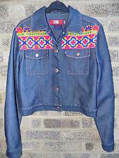 Vintage indian ethnic multi coloured mirror embroidered denim jacket STONE JEANS