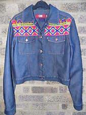Vintage indian ethnic multi coloured mirror embroidered denim jacket STONE JEANS