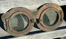 "Pair Antique Brass 10"" Portholes ~ No Cracks in Glass, Screens Included, Patina"