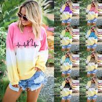Women Gradient Tie Dye Long Sleeve Tee Tops Blouse Pullover Sweatshirt T-Shirt