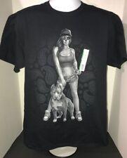 Tattooed Woman with pitbull T-shirt large men's