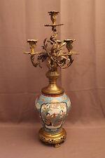Ancien et grand candélabre Japon porcelaine et bronze XIX siècle ( signé )