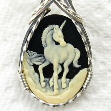 Unicorn Cameo .925 Sterling Silver Pendant Jewelry Cream Resin