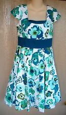 Jillian Jones Blue Green White Flower 100% Cotton Lined Dress 8