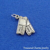 .925 Sterling Silver MOVIE SHOW TICKETS Actor Actress CHARM PENDANT