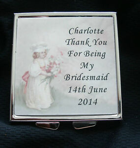 PERSONALISED Compact Mirror Bridesmaid, Mother of Bride, Maid of Honor, Wedding