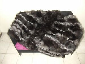 Luxury Silver Fox Fur Throw / Blanket Real Fox Fur Bedspread